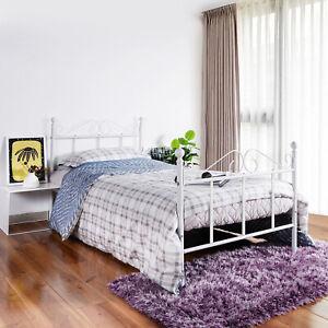 90X190cm Einzelbett Bettgestell mit Lattenrost Metallbett Romantischen Design