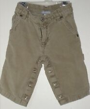 CARTER'S Boys Size 12 Months Brown Corduroy Snap Crotch Front Zipper Jeans