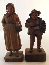 Vintage Pair Swiss Wood Dolls Jobin Brienz Switzerland