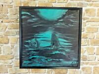 MOON MERMAID 1   original/acrylics 50x50 D B FRAME