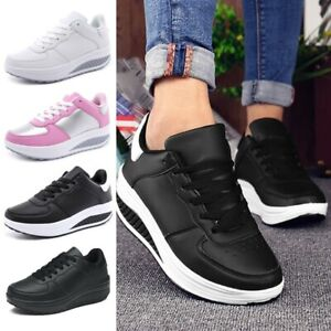 Womens Platform Shoes Shape Ups Toning Fitness Walking Sport Lace Up Sneakers-US