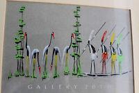 RARE! MID CENTURY MODERN CONGO WARRIORS PAINTING! VTG ART HAGENAUER ORIG BARSONY