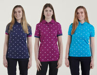 Hazy Blue Ladies / Womens Spotted Polo Shirt Lilly Navy 100% Cotton Size 8 To 16