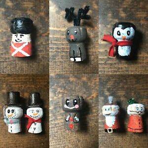 Handmade Cork Christmas Decor-Snowmen-Santa-Rudolph-Gingerbread-Penguin-Soldier