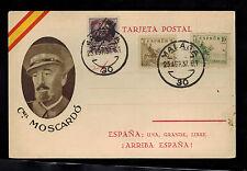 1937 Malaga Spain Civil War Postcard Cover Colonel Jose Moscardo Ituarte Fascist
