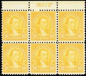 562, Mint 10¢ VF NH Top Plate Block of Six Stamps Cat $400.00 - Stuart Katz