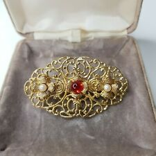 Gold Tone Brooch Gift Costume Jewellery Rare Vintage Flat Faux Pearl Red Paste