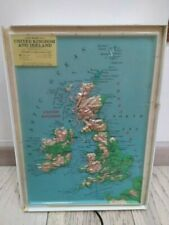 Rare Vintage Lighted box map Uninited kingdom Ireland sign working framed RICO