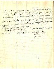 Lettera Autografo Abate Ferdinando Orlandi Filosofo Discorso di Rousseau 1834