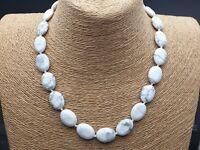 Knoten Hals Perlen Kette mit natürlichen Howlith oval 47 cm