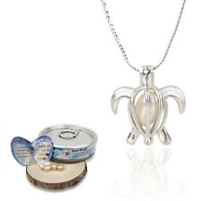 Women Alloy Helix Drop Pendant Oyster Wish Love Pearl Necklace Jewelry