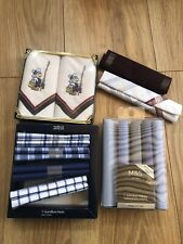 Marks And Spencers Handkerchief Mens Bundle Blue Checked  Pure Cotton