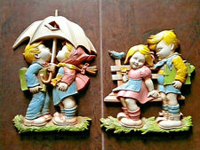 Set of 2 Homco Vintage Plastic Wall Decor Hanging Boy and Girl (1977)