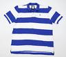 Crew Clothing Mens Size XL Cotton Striped Blue Polo Shirt