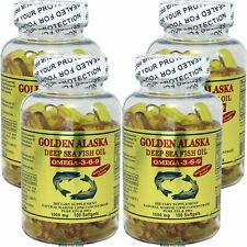 4 x 100 SG Golden Alaska Deep Sea 1000 MG Fish Oil Omega-3,6,9 EPA DHA, FRESH