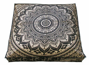 "35"" Black Gold Square Mandala Cushion Cover Meditation Floor Pillow Case Indian"