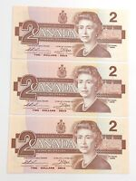 1986 Canada 3 Consecutive Two 2 Dollar Canadian Notes Series BGG Banknote I108