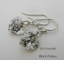 Earrings Made With Swarovski Black Patina Heart & Rhodium Plated Sterling Silver
