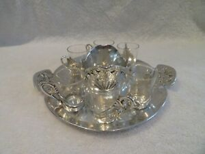 1900 silver-plated vodka liquor tray 6 goblets Gallia Christofle art nouveau st