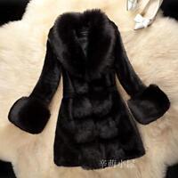 Womens Faux Fox Fur Coat Fur Collar Jacket Parka Warm Winter Long Outwear Parkas