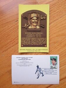 ROLLIE FINGERS Induction HALL OF FAME Plaque August 2, 1992 CANCELED Stamp A'S
