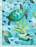Swimming Sea Turtles Turtle SEA C7955 Timeless Treasures Durable Cotton Fabric