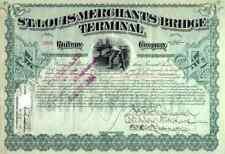 New listing 1893 St Louis Merchants Bridge Terminal Rw Stock Certificate