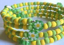 Green & Lemon Millifiori Beaded Memory Wire Bracelet
