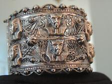 Egyptian Revival 800 Filigree Silver Wide Cuff Bangle Bracelet Pharaoh