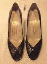 BRUNO MAGLI   Navy Blue Snakeskin / Leather Pump W/Open Toes- Italy-Sz US 6AA