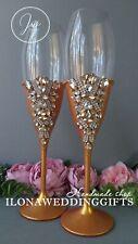 Swarovski Crystal Personalized Brilliant Wedding Toast Glass Bling Sparkle