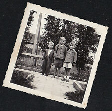 Vintage Antique Photograph Three Little Boys All Dressed Up in the Garden
