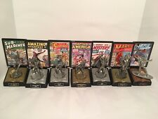 "Lot of 8 DC & Marvel Comics Fine Pewter Original 7"" Figurines"