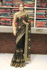 Bollywood Silk Designer Kundan Work Saree Indian Sari Evening Party Wear Dress