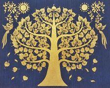 Gold BODHI TREE Thai Art Blue Silk Painting Poster Print Asian Home Decor Crafts