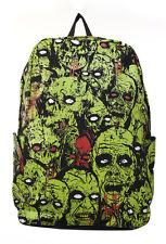 Prohibido Zombie Attack Monster Mochila Morral Escolar Bolsa Verde Impermeable Verde