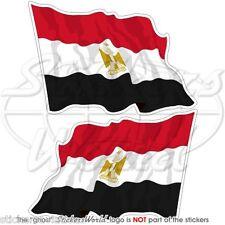 ÄGYPTEN Wehende Flagge ÄGYPTISCHE Fahne 75mm Vinyl Sticker Aufkleber x2