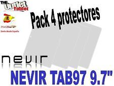 "Pack 4 Protectores de pantalla para Tablet Nevir TAB97-s1 TAB97 9.7"" UNIVERSAL"