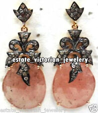 Rose Quartz Studded Silver Earring Jewelry Vintage 2.75Cts Pave Rose Cut Diamond