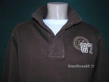 NEW Aeropostale Mens Brown Half Button Long Sleeve Pullover Sweatshirt M Medium
