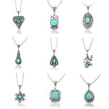 Boho Vintage Tibetan Silver Turquoise Charms Pendant Fashion Chain Bib Necklace