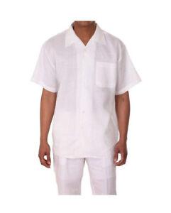 Men's 2 piece Casual Linen Walking Suit Short Sleeve Shirt w/ Pants  M2806