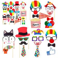 36x Photo Booth Props Funny Circus Clown Wig Birthday Party Selfie Decoration