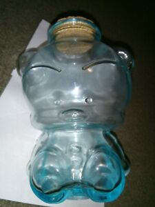 "Morning Glory ""Blue Bear"" glass jar with cork stopper"