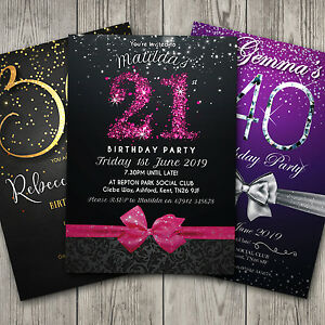 Birthday Invitations Personalised Party 18th 21st 30th 40th 50th 60th