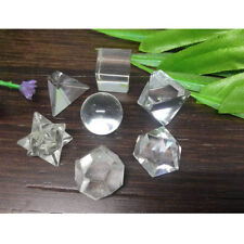 7pcs Clear Quartz Platonic Solids Sacred Geometry Geometric Set Crystal ~ GS4