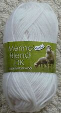 King Cole Merino Blend DK 100 Superwash Wool 50g Balls. Quick DISPATCH White 1