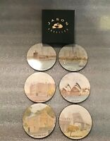 Set of Six Sydney Harbour Scenes Cork backed Drink Coasters. Excellent Condition