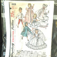 Vintage 1956 Simplicity Printed Pattern Doll Size 21 Inches #1808