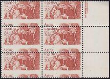 20¢ AGING TOGETHER, DESIGN-CHANGING MISPERF, 1982 #2011 INSCRIPTION BLOCK OF 6